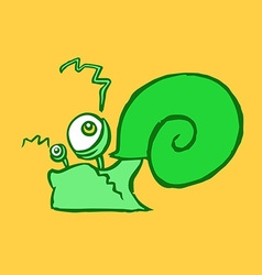 Flat green snail crawling vector