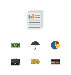 Flat icon incoming set of document cash payment vector