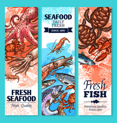 fresh fish and seafood sketch banner set vector image