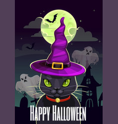 funny halloween greeting card with magic black cat vector image