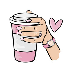 Girl holding a pink cup coffee vector