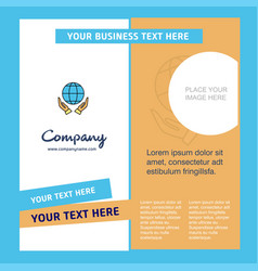globe in hands company brochure template busienss vector image