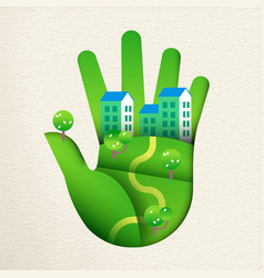 Green paper cut hand with eco friendly house vector
