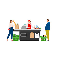Grocery cashier vector