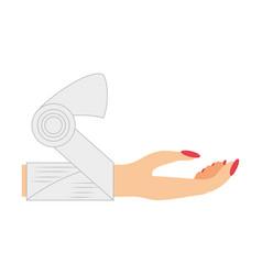 hand woman bandage medicine vector image