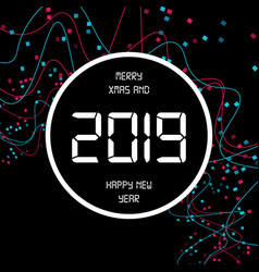 happy new year 2019 digital background decoration vector image