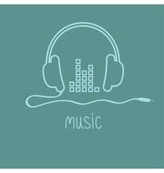 Headphones with cord and equalizer word Music vector image
