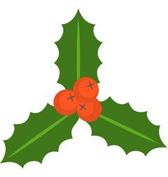 holly berry and leaves flat icon vector image