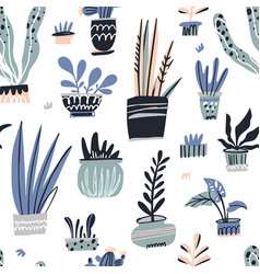 house plants hand drawn color seamless vector image