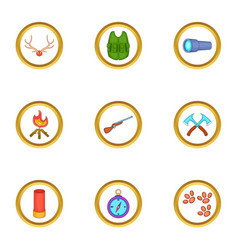 Hunter equipment icons set cartoon style vector