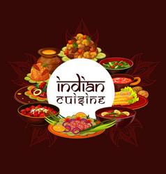 Indian cuisine authentic food restaurant menu vector