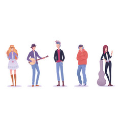 Isolated people various musical subculture set vector