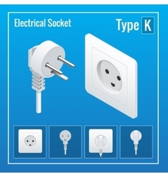 Isometric Switches and sockets set Type K AC vector