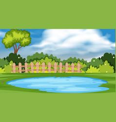 landscape background design with pond in park vector image