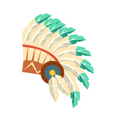 Leader war bonnet with feathers native american vector