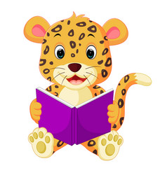 Leopard reading book vector