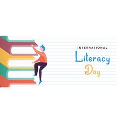Literacy day concept kid climbing book mountain vector