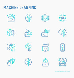 Machine learning thin line icons set vector