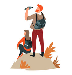 man and woman couple hiking active lifestyle vector image