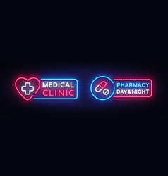 medical neon sign design template pharmacy neon vector image