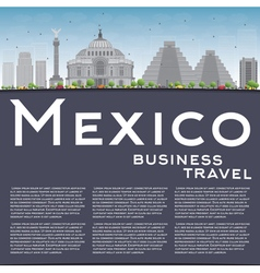 Mexico skyline with grey landmarks and blue sky vector image