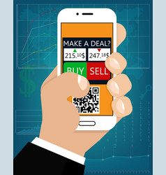 mobile foreign exchange trading flat style vector image