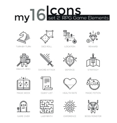 modern thin line icons set classic game objects vector image
