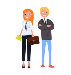 Modern young business people in formal outfits vector