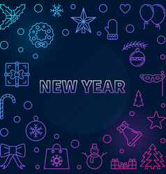 new year square colored frame in thin line vector image