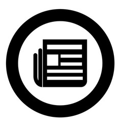 Newspaper icon black color in circle vector
