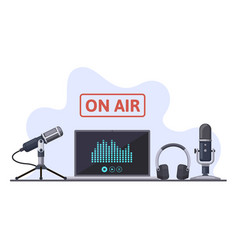 on air podcast radio broadcast or audio streams vector image