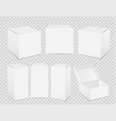 Paper boxes realistic tall white cardboard vector