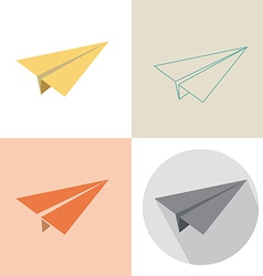 Paper plane in four design vector
