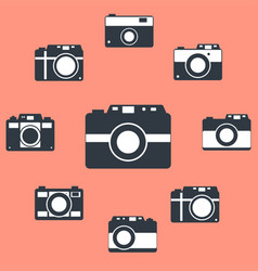 photo camera icons set in flat style set vector image