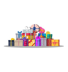 pile of gift boxes isolated on white vector image