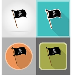 pirate flat icons 10 vector image