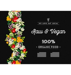 Raw vegan food menu template with vegetables vector