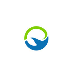 round abstract water ecology logo vector image