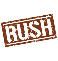 Rush square grunge stamp vector