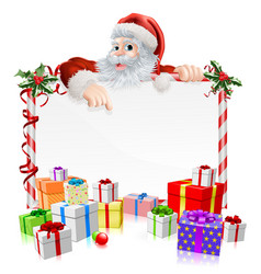 Santa christmas gifts sign vector