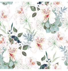 Seamless pattern with white alstroemeria flowers vector