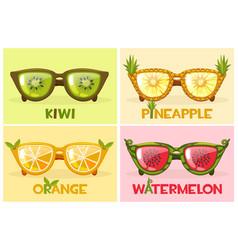 set fruit glasses watermelon vector image
