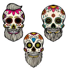 Set hand drawn mexican bearded sugar skull vector