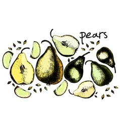 Set of drawing pears vector image