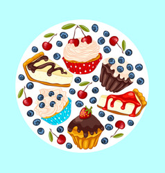 set of sweet dessert vector image