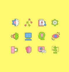 set simple line icons computer science vector image