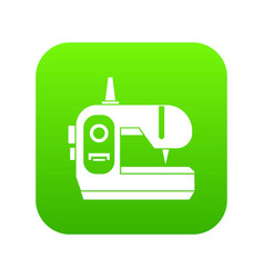 sewing machine icon digital green vector image