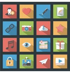 Socia media web flat icons set with longshadow vector image