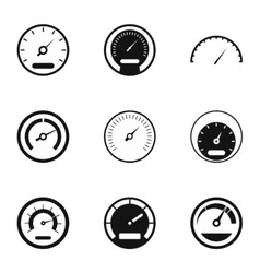 Speedometer icons set simple style vector