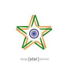 star from ribbon with India flag colors and symbol vector image